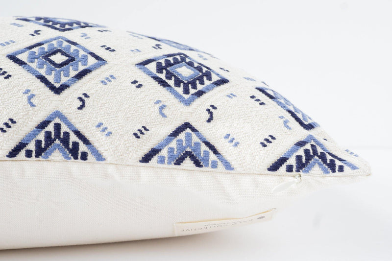 Kala Collective - Nahuala Pillow Lumbar - Handwoven - Slate, Blue, Ivory