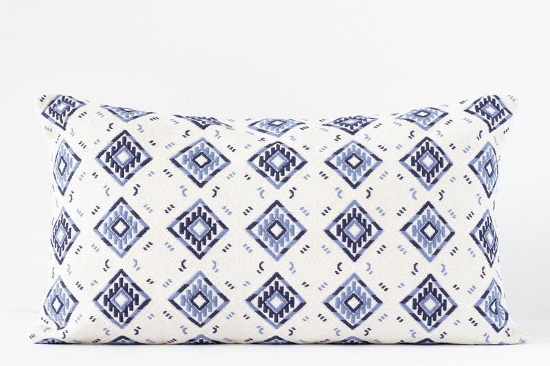 featured - Kala Collective - Nahuala Pillow Lumbar - Handwoven - Slate, Blue, Ivory