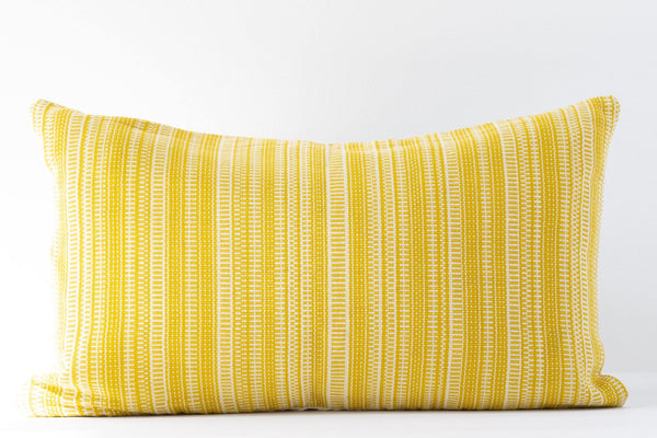 Kala Collective -  Sol Pillow Lumbar - Golden Yellow & Ivory - 12x20