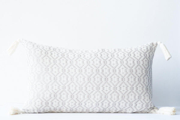 Kala Collective - Nublina Pillow Lumbar - Ivory & Light Grey- Tassels - 12 x 20