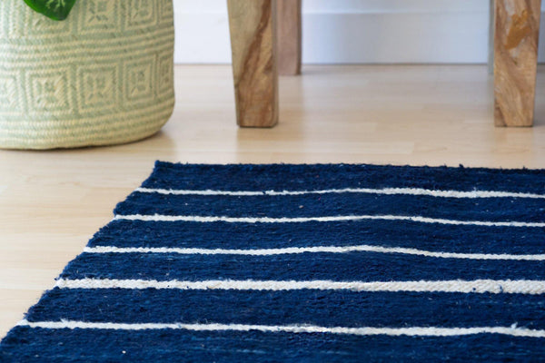 Kala Collective - Indigo Accent Rug - Indigo Blue, White - Wool Flat Weave