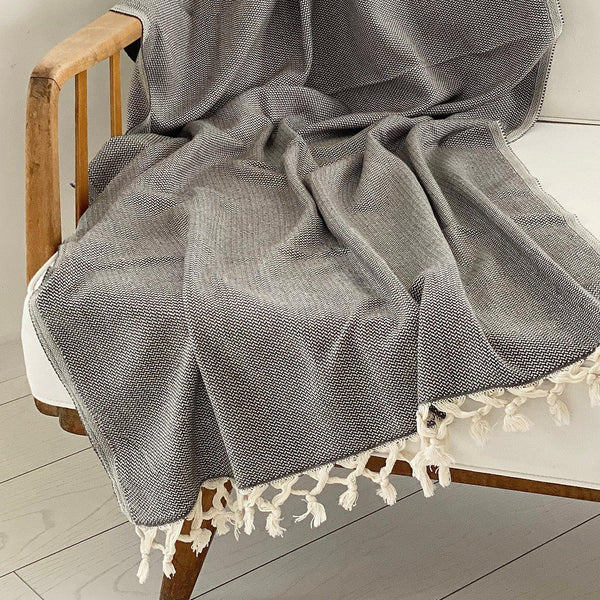 Pebble Blanket Dark Grey - Kala Home - Throw