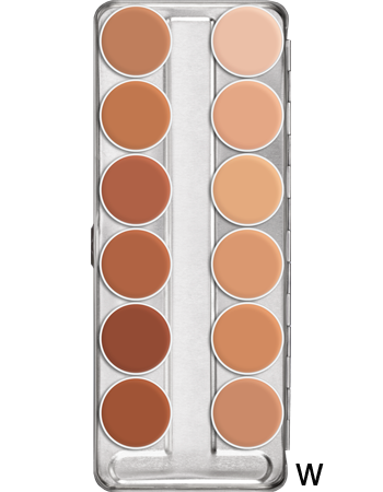 Greasepaint 12 palette in Shade W; a mix of skin tone colours