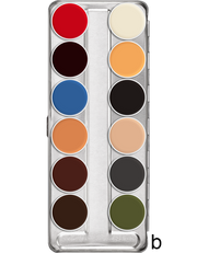 Greasepaint 12 palette in Shade B; a mix of skin tone, bright and dark colours