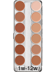 Skin tone Supracolour face and body paint 12 palette: Variation 1W-12W