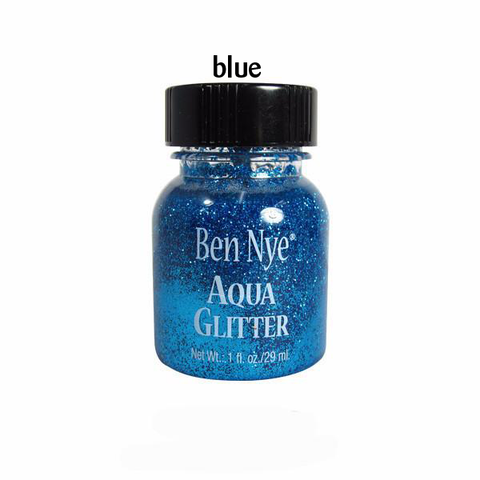 a bright blue liquid glitter
