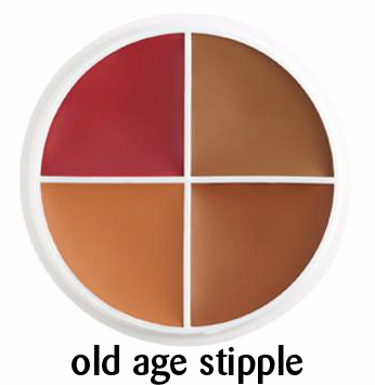 Small old age stipple special effects makeup for ageing tanned skin