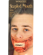 Stapled mouth Halloween prosthetic