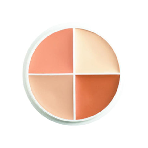 concealer compact dividing into four different shades of highlight colour.