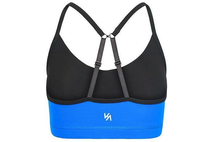 Blue sports bra crop top with black straps and white logo printed at back?id=1463717494814