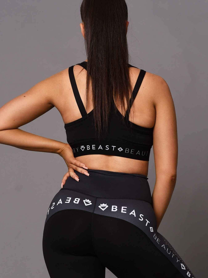 Beast & Beauty - Activewear + Gym Gear 2 Tone Crop Top Black and Black