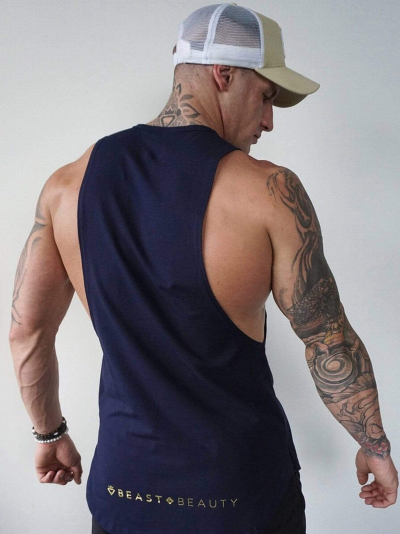 Beast & Beauty - Activewear + Gym Gear Mens Aesthetic Tank - Navy