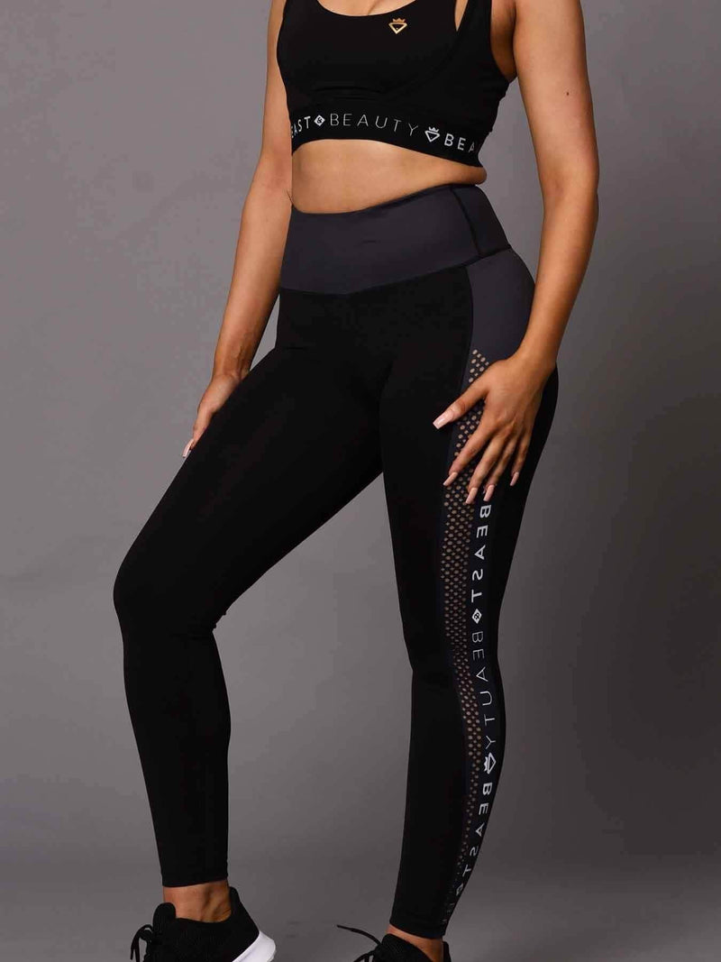 Beast & Beauty - Activewear + Gym Gear Running Logo Leggings - Black