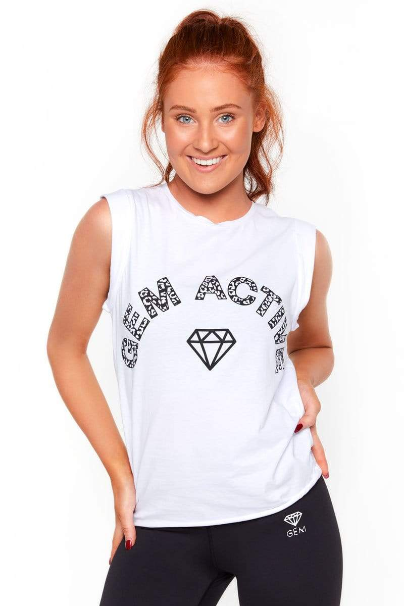 Gem Active L Muscle Tank Top (White)