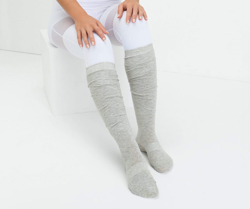 MoveActive Over The Knee Dove Grey / Small Knee High Non Slip Grip Socks