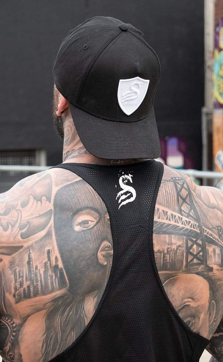 Stay Shredded BALLER - HYBRID T-BACK - Black/White