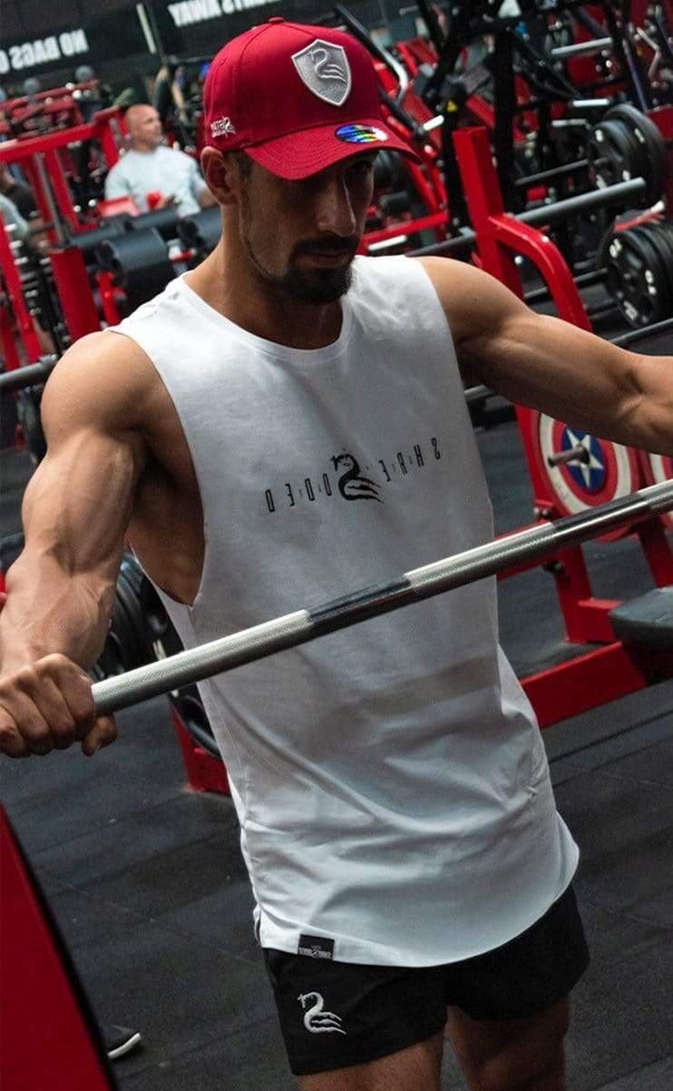 Stay Shredded ICON - Longline Muscle Tank - White