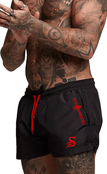 Stay Shredded SHORTS Quads of the Gods Lifting Shorts - BLACK WIDOW- BLACK/RED