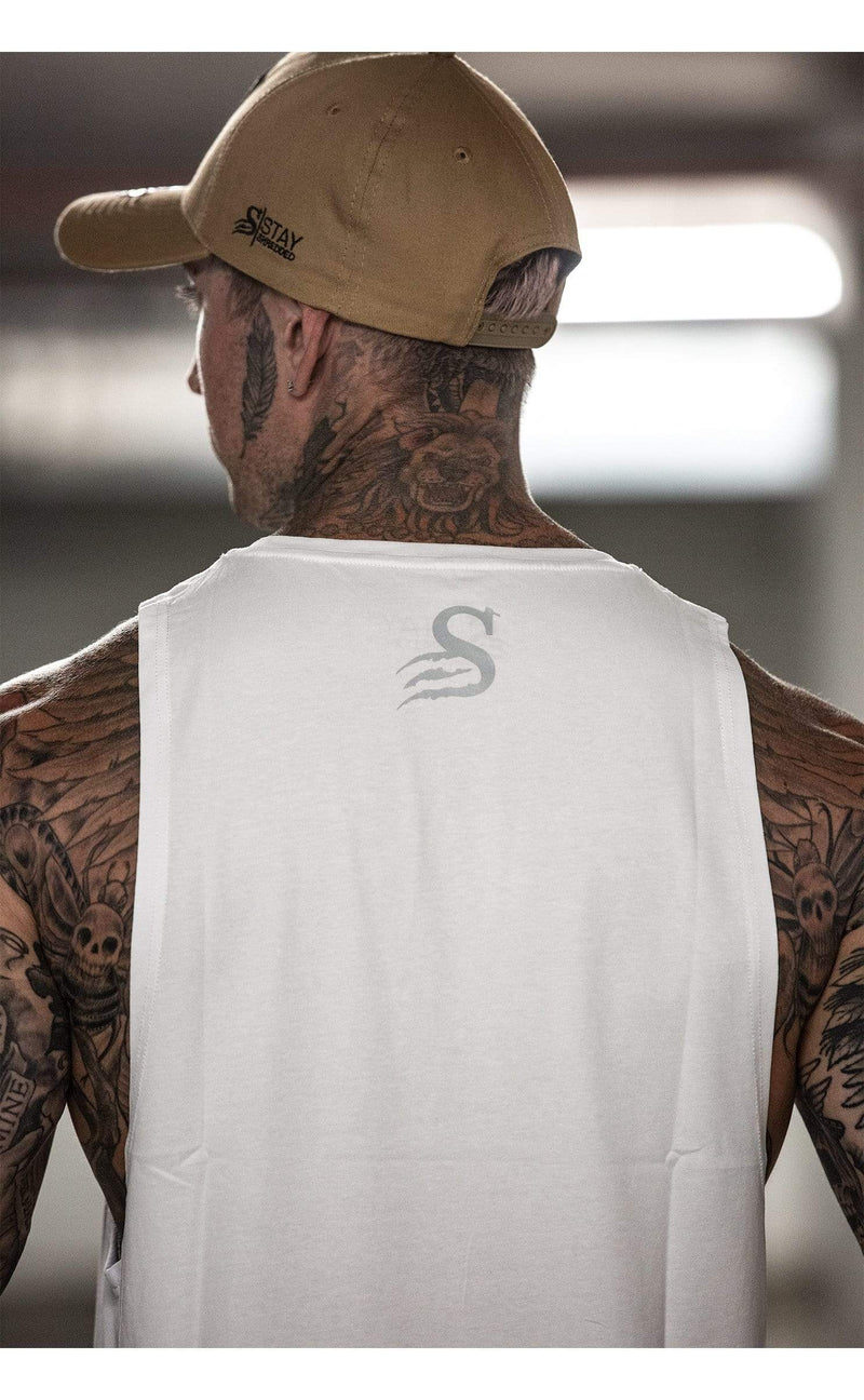 StayShredded Tanktop singlet REFLECTIVE SHREDDED HYBRID - Longline Muscle Tank top - White