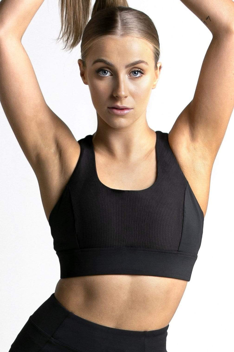 Wrapdrive Sports Bra Plush Ribbed Sports Bra: Cosmic Black