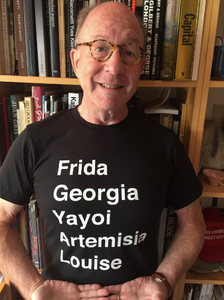 Jerry Saltz wearing artgirlrising.com Frida T-shirt