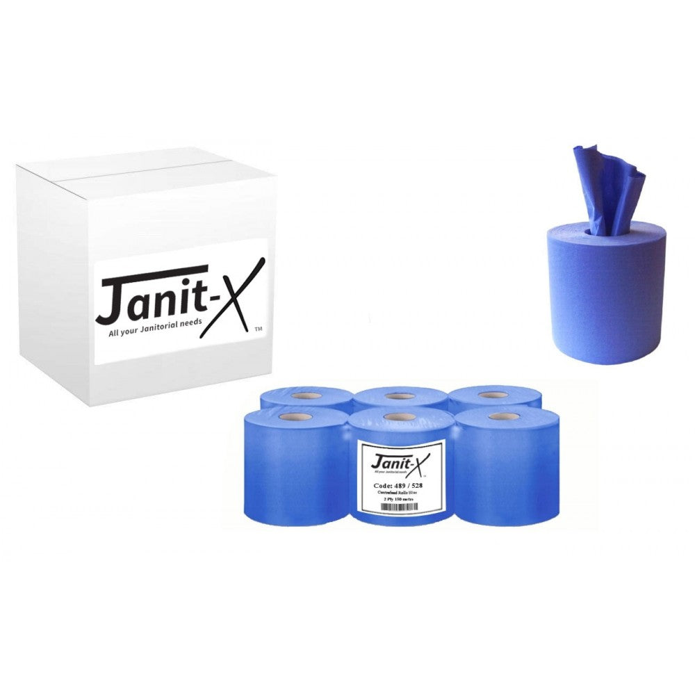 Blue Centre Feed Janit-X Rolls 2ply 150m x 6