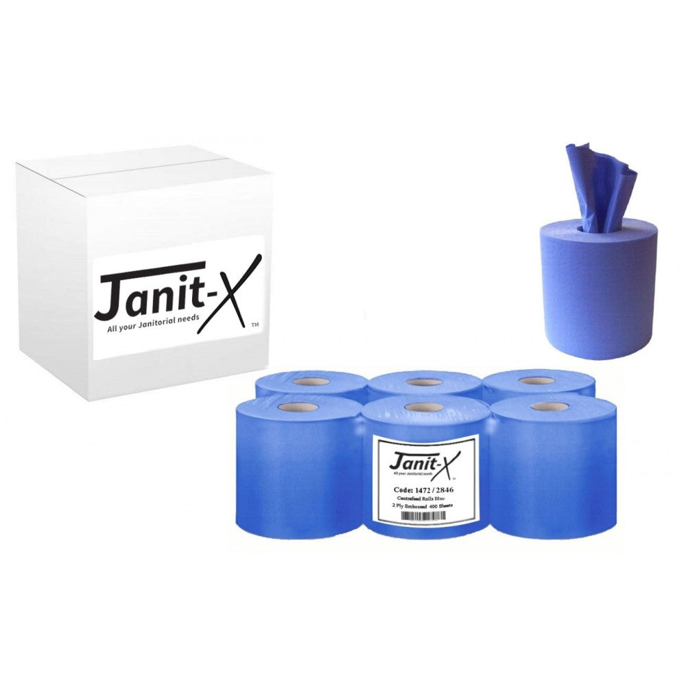 Centrefeed Rolls by Janit-X Blue 2 Ply Embossed 400 Sheets (BCF1812E2) (Pack of 6)