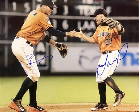 Jose Altuve & Carlos Correa Dual Signed 11x14 (JSA COA) Houston Astros WS CHAMP - Top Notch Signatures LLC