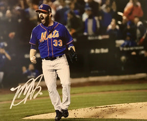 Matt Harvey Authentic Signed 11x14 Photo (COA) Dark Knight New York Mets