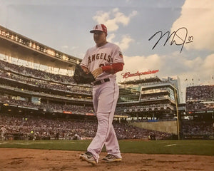 Mike Trout Authentic Signed 16x20 Canvas (COA) Los Angeles Angels MVP