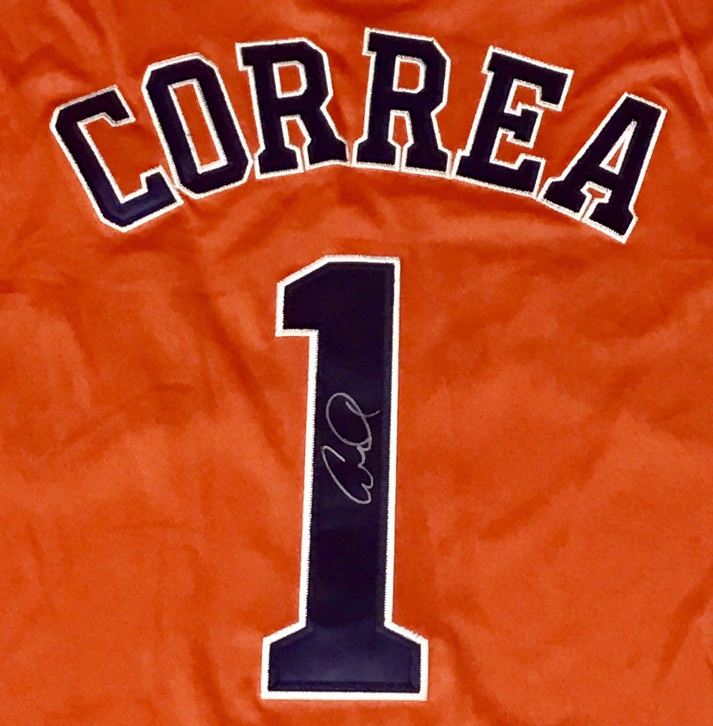 cheap for discount 35f1c fd028 Carlos Correa Signed Houston Astros Jersey - ROY 2017 WORLD ...