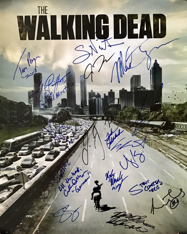 Walking Dead Cast Authentic Signed 16x20 Photo (COA) Reedus, Yeun,Kinney +20