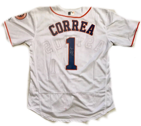 Carlos Correa Signed Jersey - HOUSTON ASTROS WORLD SERIES CHAMP ROY RARE - Top Notch Signatures LLC