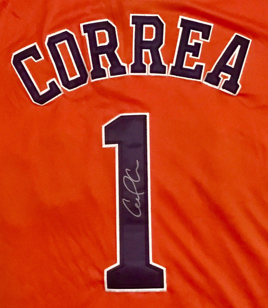 cheap for discount c8949 8d588 Carlos Correa Signed Houston Astros Jersey - ROY 2017 WORLD ...