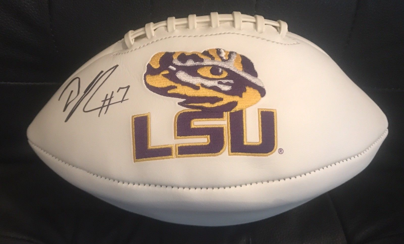 DJ Chark Authentic Signed LSU Logo Football - Jacksonville Jaguars - Top Notch Signatures LLC