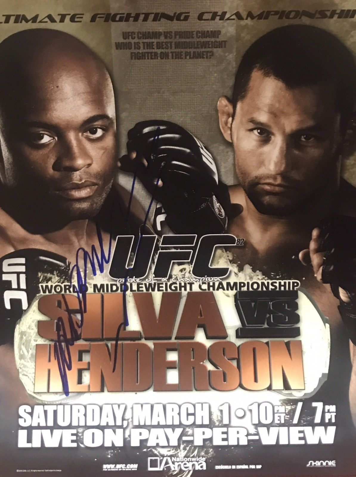 "Anderson Silva Authentic Signed 8x10 - UFC CHAMP ""THE SPIDER"" - Top Notch Signatures LLC"
