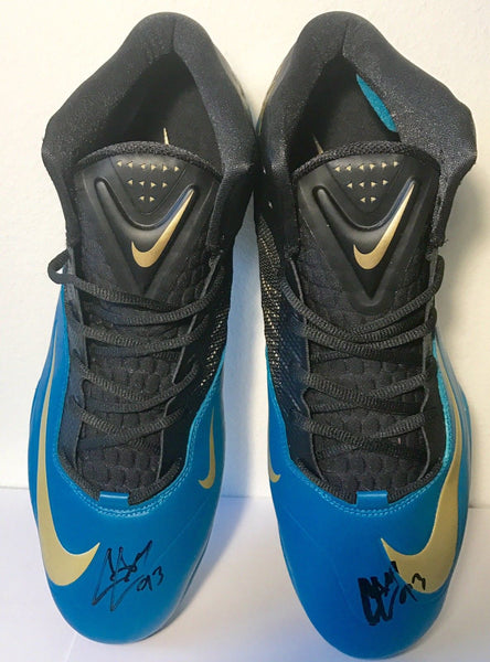 Calais Campbell Authentic Signed Replica Jacksonvile Jaguars Cleats - Top Notch Signatures LLC