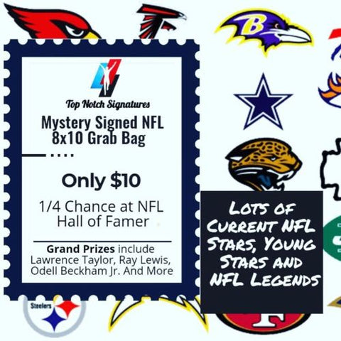 (1) Top Notch Signatures Mystery Signed NFL Football 8x10 Photo HOF Etc. - Top Notch Signatures LLC