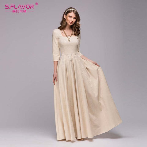 Women Vintage square collar long dress New Elegant solid color three quarter sleeve vestidos Casual autumn winter dress S.FLAVOR