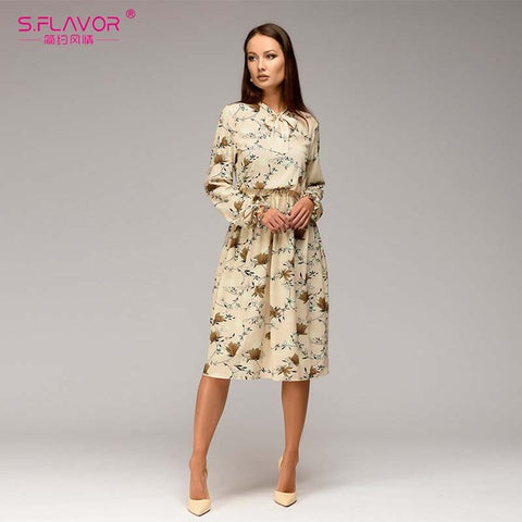 S.FLAVOR Women casual knee-length dress 2018 new arrival long sleeve printing spring dress for offical lady Women loose vestidos