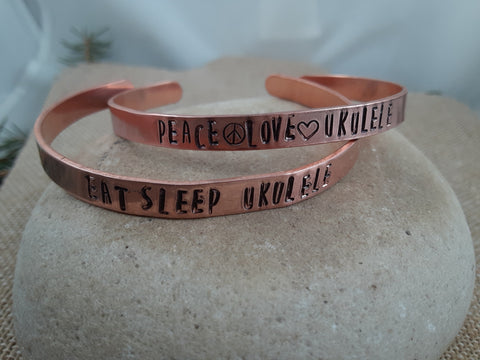 Stamped Copper Ukulele Love Cuff Bracelets