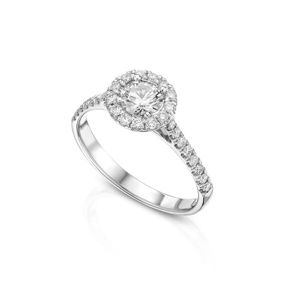 059ct Natural Halo Flower Diamond Promise Ring In 14k Solid White