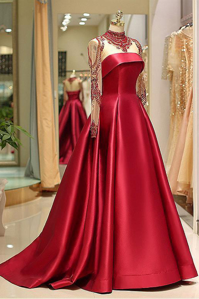 Langarm Abendkleider High Neck Burgund Langes Abendkleid Satin Abendkleid AK012