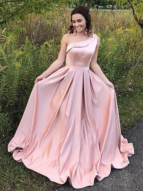 Abendkleid Sweep/Pinsel Zug A-Linie/Princess-Stil One-Shoulder Ärmellos Rüschen Satin OP102
