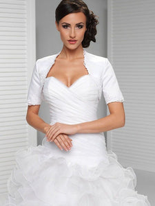 Weiß Stickerei Kurzarm Satin Bridal Shrug LW009