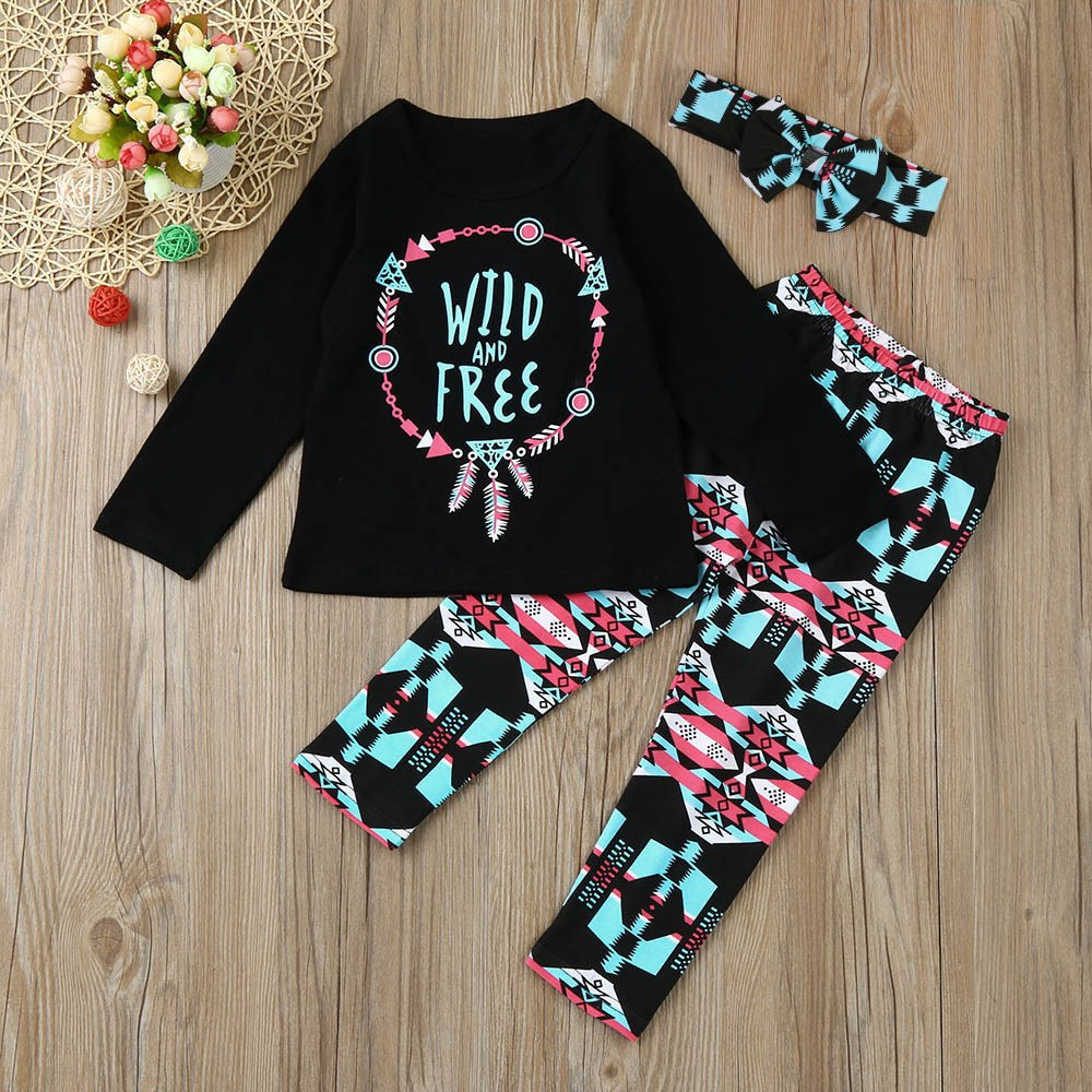 Baby Girls Printed 3pc Set WILD AND FREE