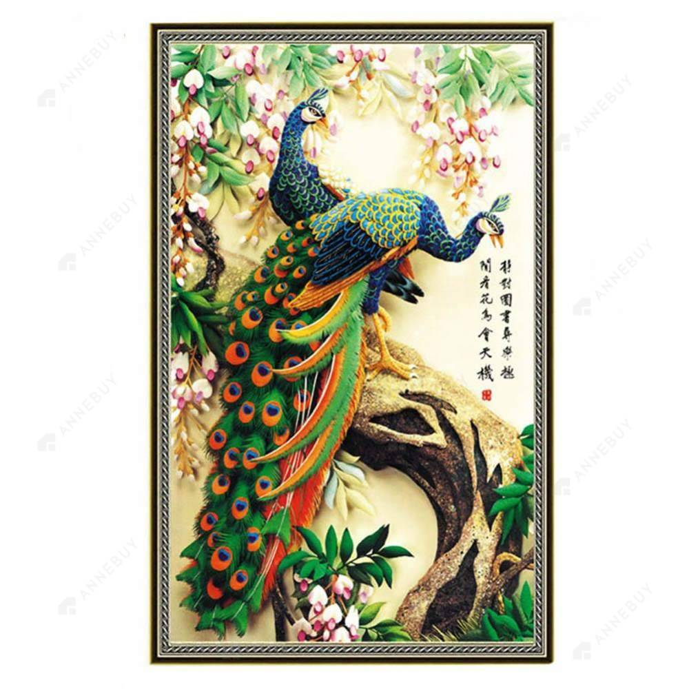 Diamond Painting-Partial Drill Green Peacock
