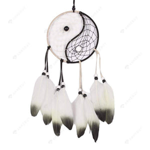 Dream Catcher-Taiji Catcher Circular Net With Feathers Wall Hang Decor