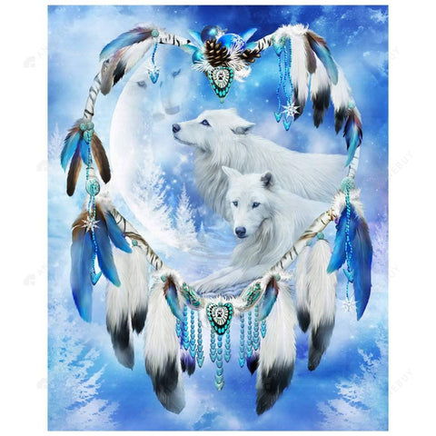 Diamond Painting-Partial Drill Dream Catcher Wolf