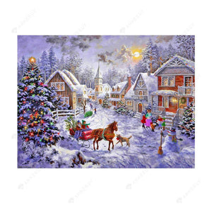 Diamond Painting-Partial Drill Christmas Snow Carriage